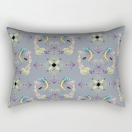 Tropical brocade of a succulent floral with a lizard with knotwork on grey background pattern Rectangular Pillow