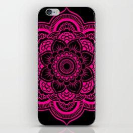 Mandala Flower Pink & Black iPhone Skin