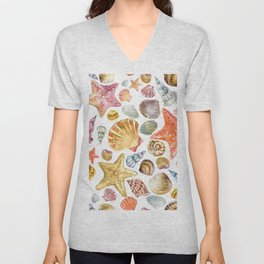 Sea ​​shell seamless pattern Unisex V-Neck