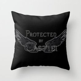 Protected by Castiel Black Wings Throw Pillow