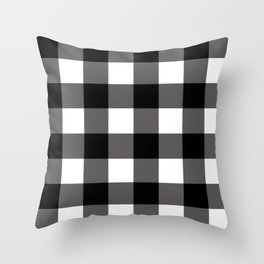 Black & White Buffalo Plaid Throw Pillow