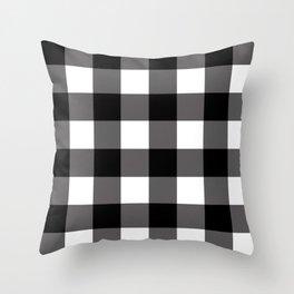 Black & White Buffalo Plaid Throw Pillow