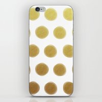 gold dots iPhone & iPod Skins featuring painted polka dots - gold by her art