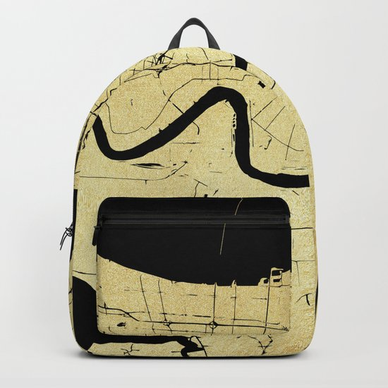 New Orleans Black and Gold Map Backpack
