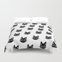 kittens Duvet Covers featuring Black Kittens by Ribbonfemale