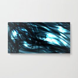 glowing cosmic azure background of cobalt metal lines. For registration of paper or banners. Metal Print