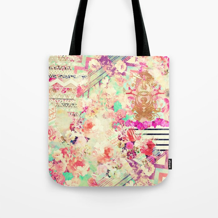 Flowers Mix Vintage Patchwork Tote Bag