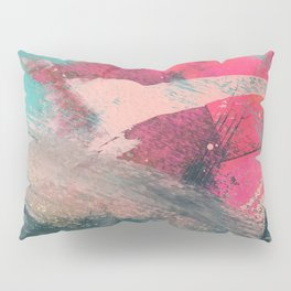 Sugar Rush [3]: a colorful, abstract mixed media piece in pinks, blues, and gold Pillow Sham