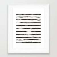 Framed Art Prints featuring Thin Brush stripe by Crystal Walen
