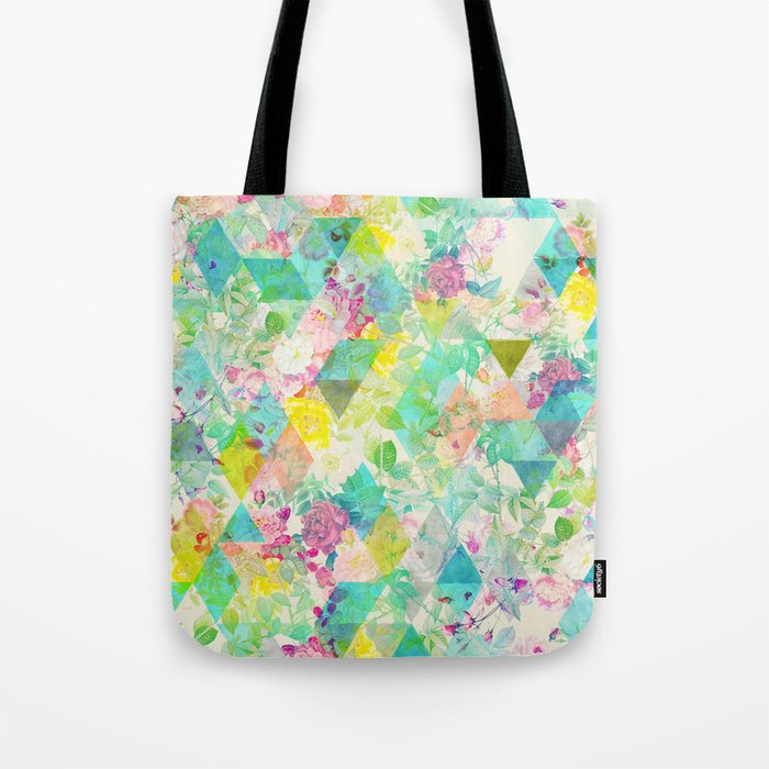 Floral triangles Tote Bag