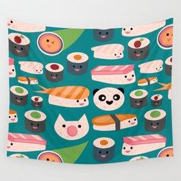 Kawaii sushi teal Wall Tapestry