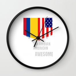 50% Colombian 50% American 100% Awesome Immigrant Wall Clock