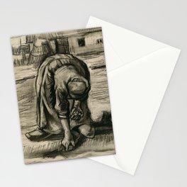 Vincent Van Gogh Peasant Woman Planting Potatoes Stationery Cards