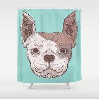 bulldog Shower Curtains featuring Bulldog by Jamie Bryan