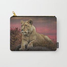 African Female Lion in the Grass at Sunset Carry-All Pouch