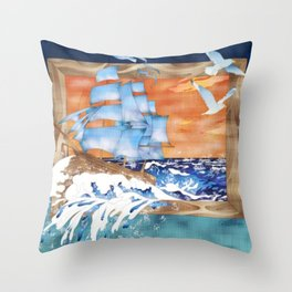 Ship Sails Out of Frame Throw Pillow