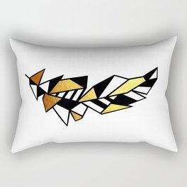 Gold Feather Design Rectangular Pillow