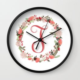 Personal monogram letter 'T' flower wreath Wall Clock