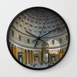 Interior of the Pantheon, Rome by Giovanni Paolo Panini Wall Clock