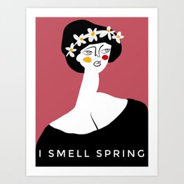 "Spring Girl with caption ""I smell Spring"" Art Print"
