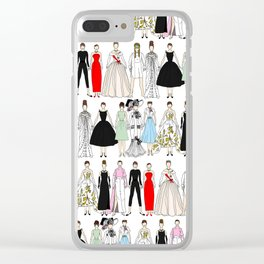 Outfits of Audrey Fashion (White) Clear iPhone Case