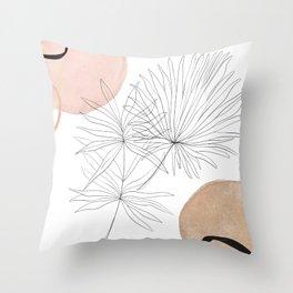 Blush Gold Pebbles 3 - Boho Line Art Drawing Abstract Minimal Lines Design Throw Pillow