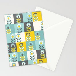 Scandinavian florals 04, teal, yellow and grey Stationery Cards