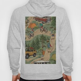 Outdoor recreation vintage seamless pattern with hikers bicycle travelers motorhome travel car tents forest tree stumps backpacks vintage illustration Hoody