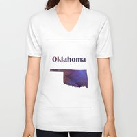 oklahoma V-neck T-shirts featuring Oklahoma Map by Roger Wedegis