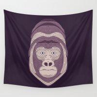 gorilla Wall Tapestries featuring Gorilla by Brad Hansen
