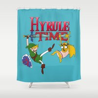 hyrule Shower Curtains featuring Hyrule Time by Marcos Raya Delgado