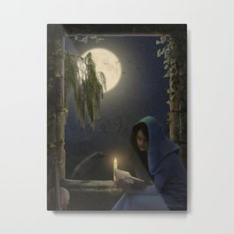 Reading in the moonlight Metal Print