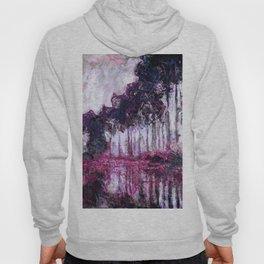 Monet Poplars on the Banks of the River Epte Purple Magenta Hoody