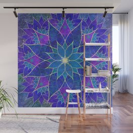 Lotus 2 - blue and purple Wall Mural
