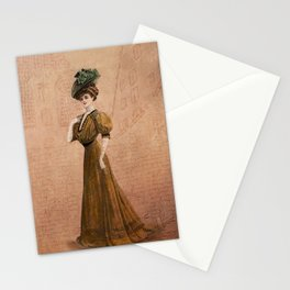 Woman in yellow dress Edwardian Era in Fashion Stationery Cards