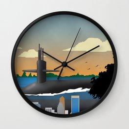 Kings Bay, GA - Retro Submarine Travel Poster Wall Clock