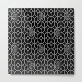 PAISLEY DIAMOND - BLACK/GREY Metal Print