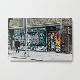 Walking Down the Street Metal Print