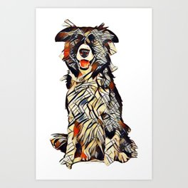 Border Collie dog sitting looking at camera isolated on a white background        - Image Art Print