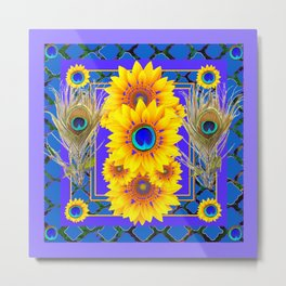 LILAC-BLUE PEACOCK JEWELED SUNFLOWERS Metal Print