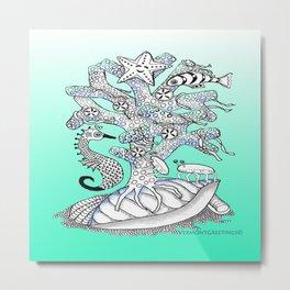Zentangle Seahorse, Coral, Starfish Undersea Illustration Metal Print