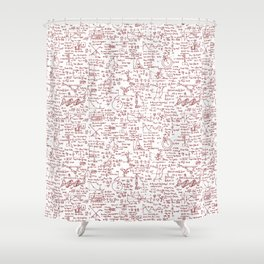 Physics Equations in Red Pen Shower Curtain