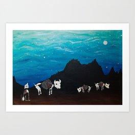 Bison At Night Art Print