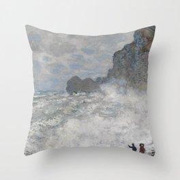 Claude Monet Rough weather at Étretat Throw Pillow
