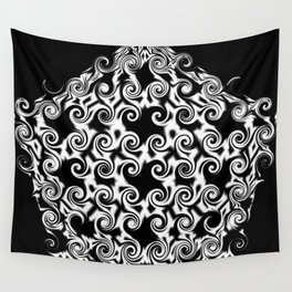 Curlicues Pentagon Black and White Pattern Wall Tapestry