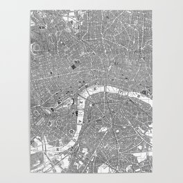 Vintage Map of London England (1862) BW Poster