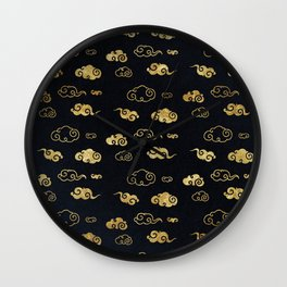 Black and Gold Asian Style Cloud Pattern Wall Clock