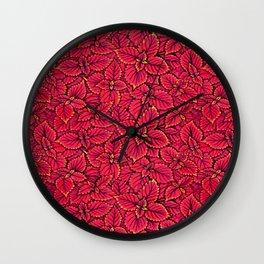 Coleus Leaves, Botanical Floral Pattern Alizarin Crimson Wall Clock