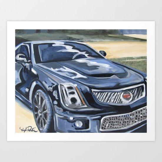 Black on Black {Cadillac CTS Painting} Art Print