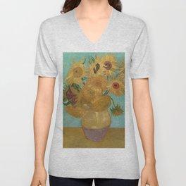 Sunflowers by Vincent Van Gogh Unisex V-Neck